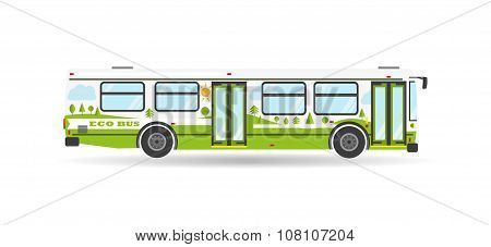 Vector Flat City Transit Eco Bus Public Transport vehicle