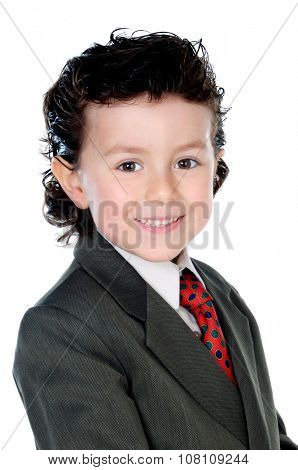 Little businessmann with red tie isolated on a white background
