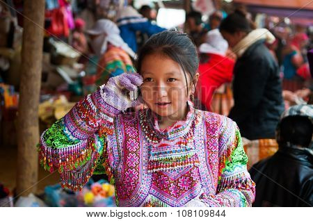 H'mong ethnic minority people in Can Cau traditional market in Laocai, Vietnam.