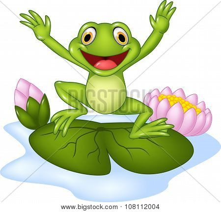Cartoon happy frog jumping on a water lily