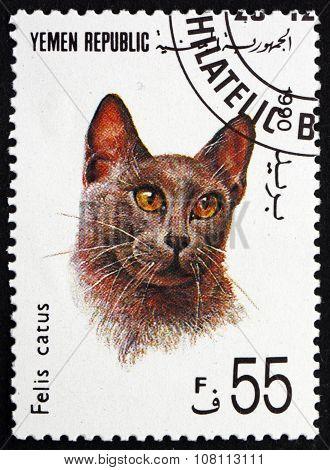 Postage Stamp Yemen 1990 Cat, Felis Catus, Pet