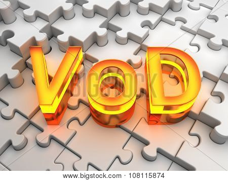 VoD (Video on Demand) - computer generated image (3D render) poster