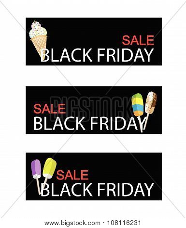 Ice Cream And Flavored Ice On Black Friday Sale Banner