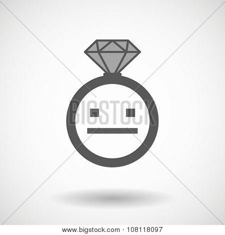 Isolated Vector Ring Icon With A Emotionless Text Face