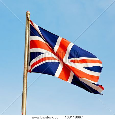 Waving Flag In The Blue Sky British Colour And Wave