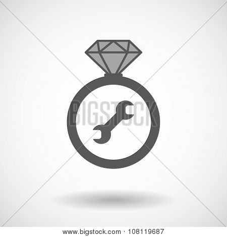 Isolated Vector Ring Icon With A Wrench