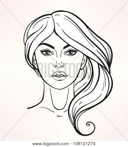 Female face chart Makeup Artist Blank.