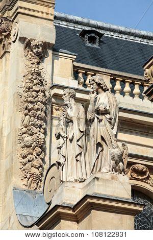 Fragment of facade of the Chapelle de la Sorbonne in Paris France