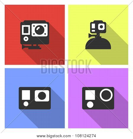 Action video camera vector flat style illustration set