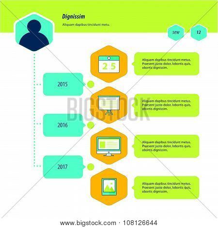 Timeline Infographic Design Bule, Green And Yellow Color