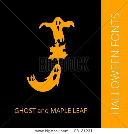 Halloween alphabet letter J consist of ghost and maple leaf