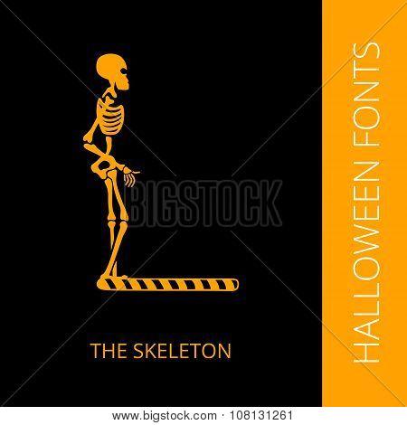 Halloween alphabet letter L consist of the sceleton