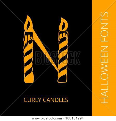 Halloween alphabet letter N consist of curly candles