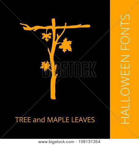 Halloween alphabet letter T consist of tree and maple leaves