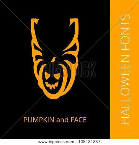 Halloween alphabet letter U consist of pumpkin and face