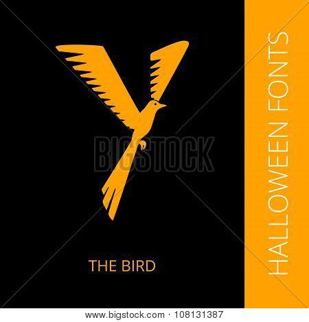 Halloween alphabet letter Y consist of the bird