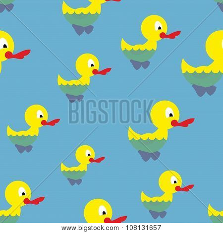 Ducks Swim In Pond Seamless Pattern. Waterbird In Sea. Background Of Birds. Ornament For Baby Tissue