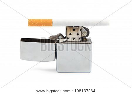 Iorn lighter and cigarette on white