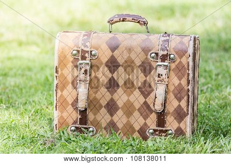 Old vintage briefcase  document on green grass.