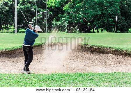Yong Asian Golfer Explosion Sand.