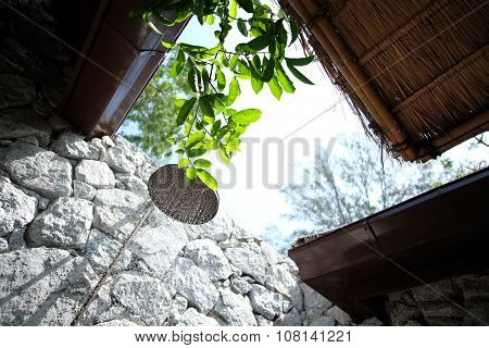 Open-air showering bathroom