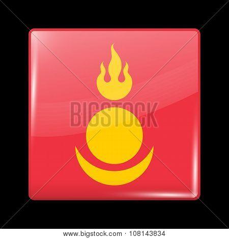 Mongolia Variant Flag. Glassy Icon Square Shape. poster