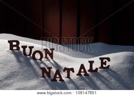 Card WithSnow, Buon Natale Means Merry Christmas