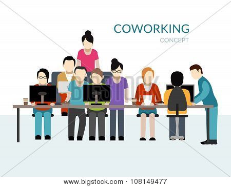 Coworking center concept with people working at the table flat vector illustration poster