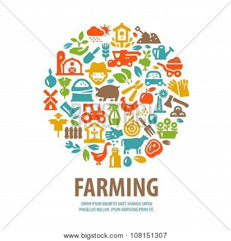farm vector logo design template. horticulture or farming icons