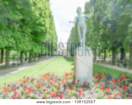 Defocused Background Of The Luxembourg Garden In Paris, France