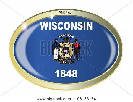 Oval metal button with the Wisconsin flag isolated on a white background poster