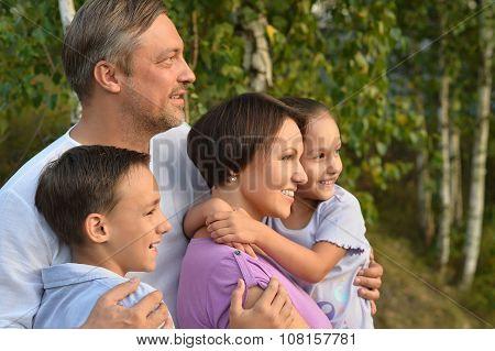 Family  walking in city