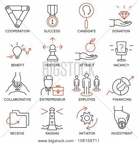 Set of icons related to business management - part 30