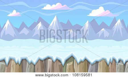 Seamless Winter Landscape With Rocky Mountains For Christmas Game Design
