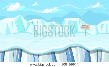 Seamless Winter Landscape With Icebergs For Christmas Game Design