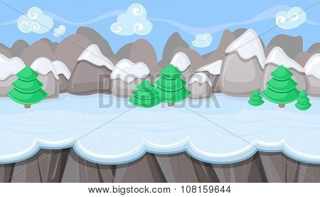 Seamless Winter Landscape With Round Mountains For Christmas Game Design
