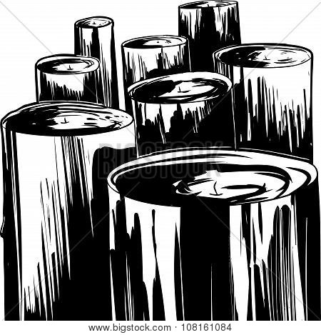 Outlined Set Of Candles