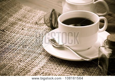 Tea In Cups On A Table, Black And White Tone