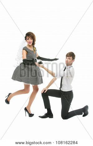 Boy proposing to girl with huge ring