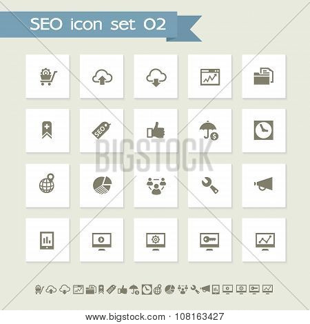 SEO icons, set 2. Simple flat buttons