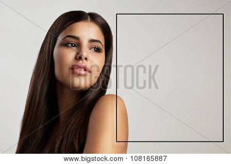Latin Woman's Portrait With A Black Frame For Text