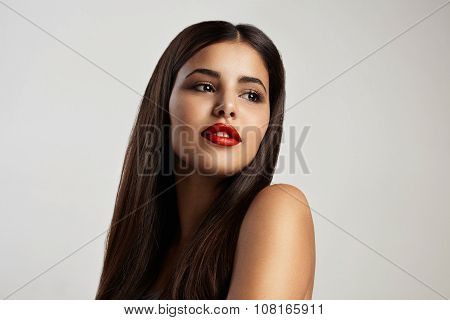 Beauty Latin Woman With Red Lips