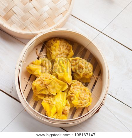 Chinese Streamed Dumpling In Bamboo Basket,top View