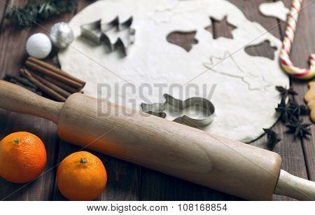 On a wooden desk background Christmas composition
