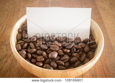 Roasted Coffee Bean And Business Card