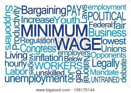 Minimum Wage Word Cloud on White Background