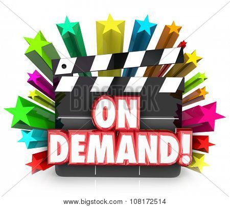 Video On Demand or VOD on a movie clapper board to illustrate streaming movies or films to watch or rent at home on television over cable or Internet