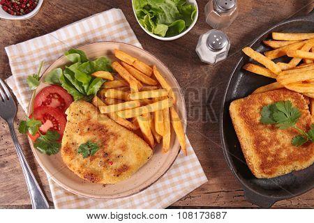 cordon bleu with french fries