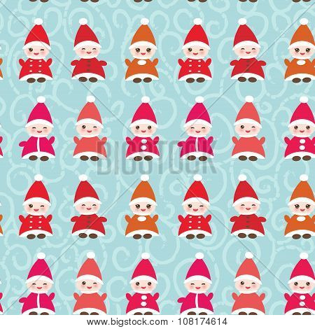 Happy New Year Funny gnomes in red hats seamless pattern on blue background. Vector