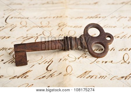 Old Key On Letter